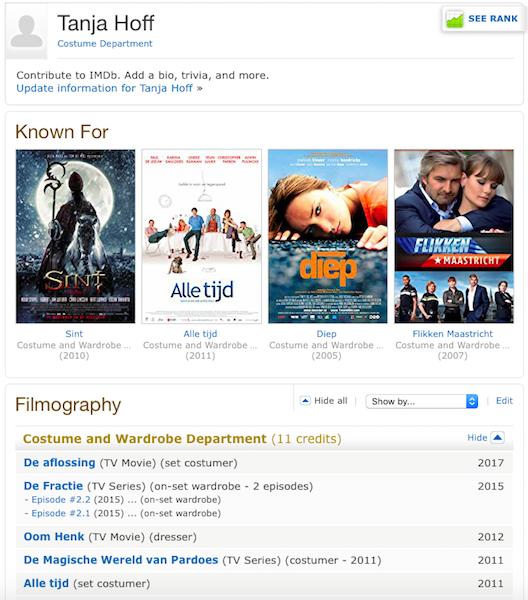 imdb costume department kleedster film filmografie tanja hoff cv